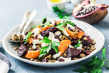 Healthy Vegetarian Salad, Roasted Root Vegetables, Lentils And Feta Cheese. Selective Focus, Space For Text.