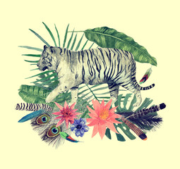 Obraz Hand drawn watercolor illustration with flowers, tigers, leaves.