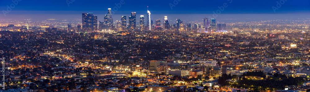 Fototapeta Los Angeles Downtown sunset