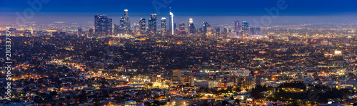 Spoed Foto op Canvas Amerikaanse Plekken Los Angeles Downtown sunset