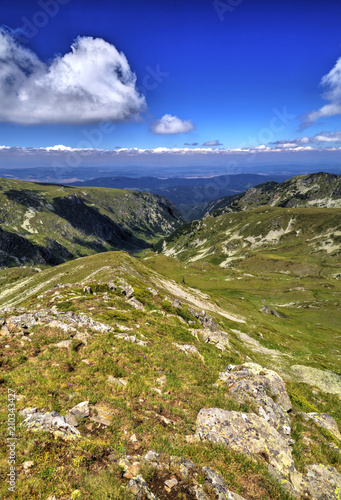 Foto op Plexiglas Donkerblauw Beautiful landscape in the high mountain