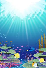Fototapeta na wymiar 海の中の風景 珊瑚礁 サンゴ礁