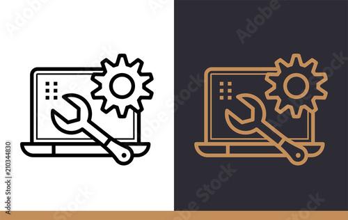 Cuadros en Lienzo Unique linear icon of Data maintenance