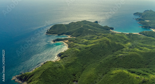 Foto op Aluminium Kust Aerial view of clean water sea and sand coast
