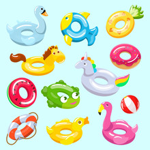 Inflatable Vector Inflated Swimming Ring And Life-ring In Pool For Summer Vacation Illustration Set Of Inflation Rubber Toys Flamingo Or Donut Isolated On Background