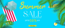 Summer Sale Banner With Tropic...