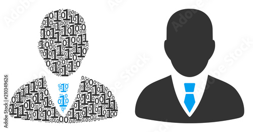 Businessman mosaic icon of binary digits in various sizes. Vector digits are arranged into businessman composition design concept.