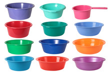 Set Of Various Colored  Plastic Wash Bowls (basins) Isolated On The White Background