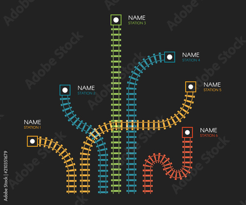 Fotografie, Obraz Railroad tracks, railway simple icon, rail track direction, train tracks colorful vector illustrations on black backgroud, colorful stairs, subway stations map top view, infographic elements
