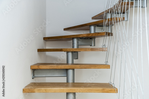 Suspended Staircase/Interior Design House Apartment Staircase Made Of Steel  And Wood Apparently Floating.