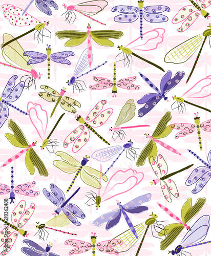 Plissee mit Motiv - Colorful dragonflies fly across this sweet print. Vector illustration for stationery, packaging, nursery decor, kids apparel, placement print and more. Cute nature print.