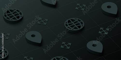 Fotografia  Black 3d navigation background with web symbols.
