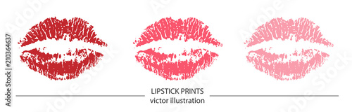Foto Set of red and pink lipstick prints on white background