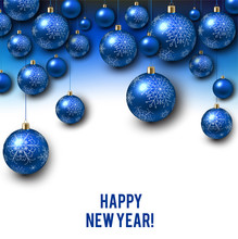 Christmas Background With Blue Christmas Balls And Snow For Xmas Design. Vector Illustration.