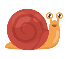 Cheerful Little Snail Isolated On White Background, Vector Illustration.