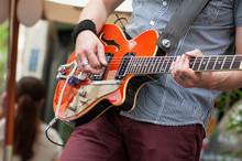 Closeup Of Guitarist Playing G...