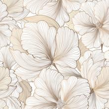 Floral Seamless Pattern. Flower Background. Flourish Garden Text