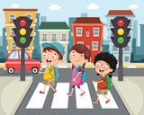 Vector Illustration Of Kids Walking Across Crosswalk
