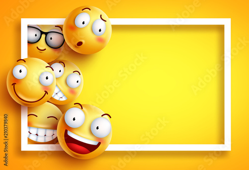 Fotografie, Obraz  Smiley background vector template with yellow funny smileys or emoticons and empty blank space for text and white frame in yellow background