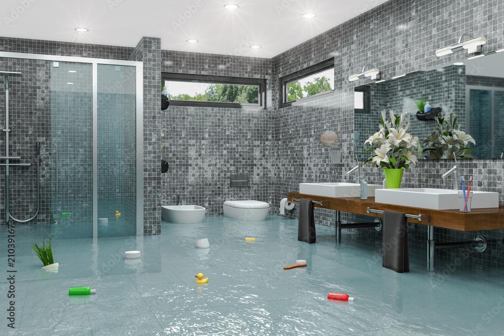Uberschwemmtes Modernes Badezimmer Bad Dusche Wasserschaden Havarie Hochwasser Kaufen Sie Diese Illustration Und Finden Sie Ahnliche Illustrationen Auf Adobe Stock Adobe Stock