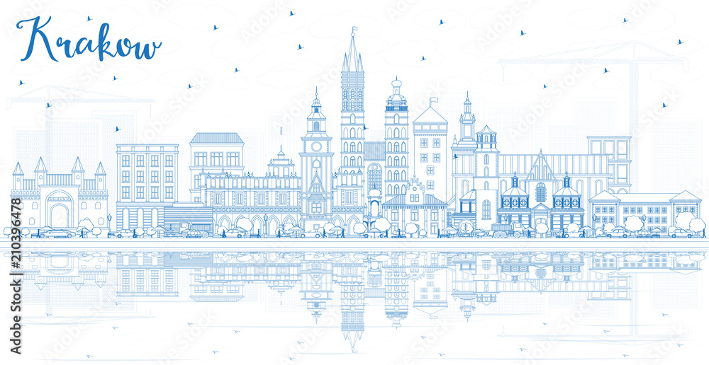 Outline Krakow Poland City Skyline with Blue Buildings and Reflections.