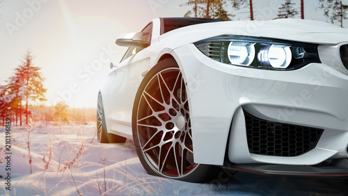 Cadres-photo bureau Glisse hiver white car in the snow. 3d render and illustration.