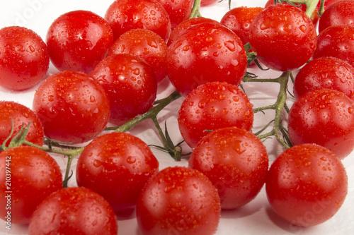 Fotografie, Obraz  fresh and wet piccolo tomatoes on bright background