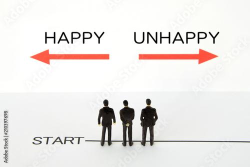 Obraz na płótnie ビジネスコンセプト―幸せか不幸か