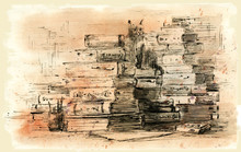 Stack Of Books, Ink And Watercolor Drawing. Old Books. Ancient Folios And Scrolls.