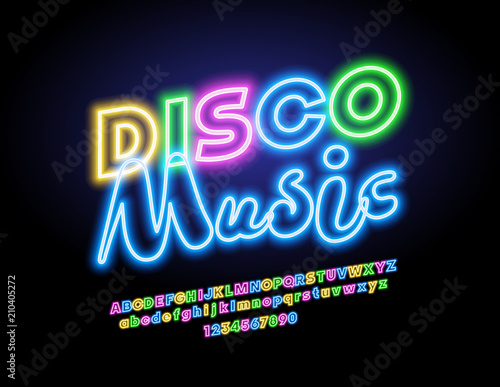 Vector neon Disco Music logo. Glowing colorful Font. Bright lighting Alphabet Letters, Numbers and Symbols
