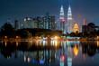 Cityscape of Kuala Lumpur at night. Titiwangsa park at Kuala Lumpur, Malaysia skyline at sunset.