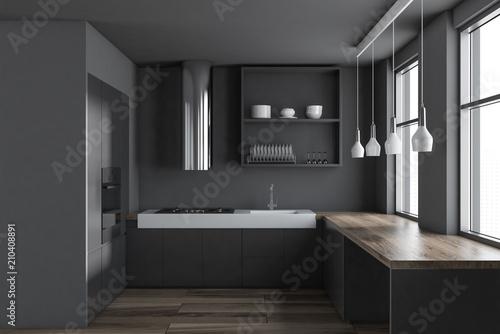 Fototapeta Gray minimalist kitchen interior obraz