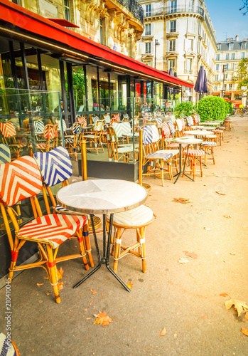 Photo sur Toile Drawn Street cafe Monmartre cafe, Paris, France