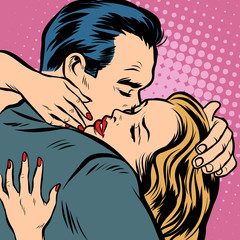Man and woman hugs, love and romance