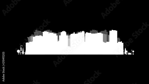 Photo Stands Kuala Lumpur Vector city silhouette. Cityscape background. Illustration of architectural building in panoramic view. Modern city skyline. Big city streets. minimalistic style.