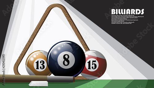 Fotomural Illustrated poster on the billiard theme