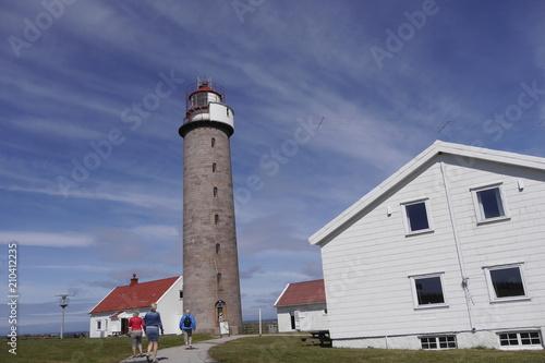 Deurstickers Scandinavië Vogelschutzgebiet und Leuchtturm Lista Fyr, Südnorwegen