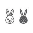 Rabbit line and glyph icon, animal and zoo, bunny sign vector graphics, a linear pattern on a white background, eps 10.