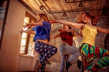 Passion dance team - female dancer exercising dance training in studio