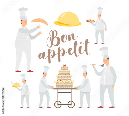 Set of funny cartoon chefs in different poses Wallpaper Mural