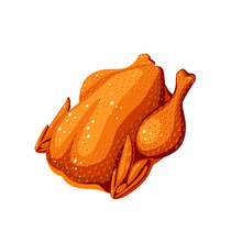 Fried Whole Chicken. Vector Il...