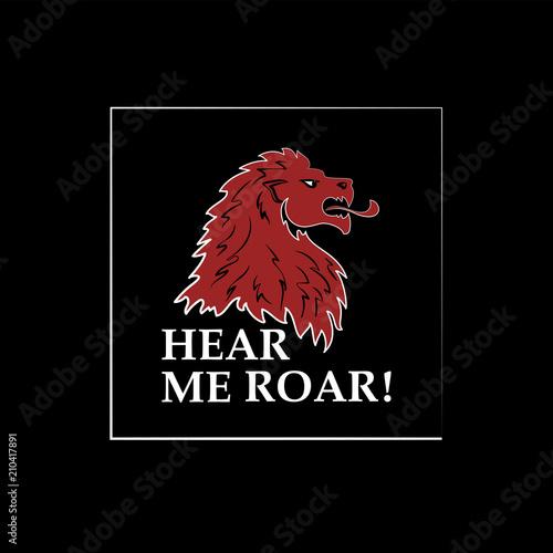 Lion head and the inscription HEAR ME ROAR! Silhouette head of a ferocious beast Canvas Print