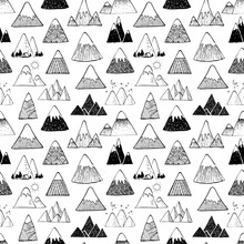 Seamless Background With Doodle Sketch Mountains On White Background. Can Be Used For Wallpaper, Pattern Fills, Textile, Web Page Background, Surface Textures.