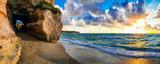 Fototapeta Fototapety z morzem do Twojej sypialni - amazing sea sunset in small hidden beach in Tropea, Calabria, Italy