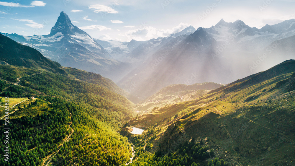 Fototapety, obrazy: Matterhorn Mountain epic aerial view with white snow and blue sky in n Switzerland