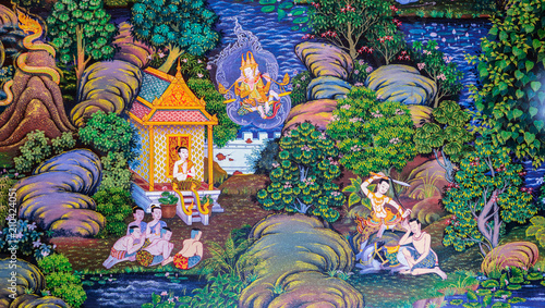 Native Thai Buddhist mural painting of the life of Buddha