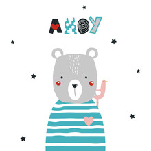 Cute Bear And Seagull With Text Ahoy. Vector Hand Drawn Illustration.