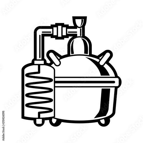 Cooper alcohol distillation unit alembic. Canvas Print