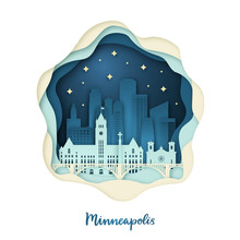 Paper Art Illustration Of Minneapolis. Origami Concept. Night City With Stars. Vector Illustration.