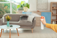 Woman Spraying Air Freshener A...